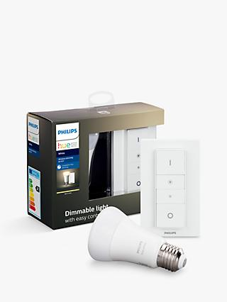 Philips Hue White Ambiance 10.5W ES LED Dimmable Classic Bulb and Wireless Dimmer Switch Starter Kit