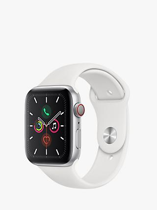 Apple Watch Series 5 GPS + Cellular, 44mm Silver Aluminium Case with White Sport Band