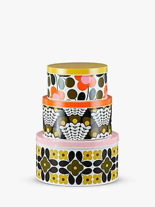 Orla Kiely Floral Print Cake Tins, Set of 3, Green/Multi