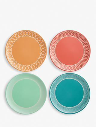 LEON Bamboo Picnic Plates, 25cm, Set of 4, Assorted