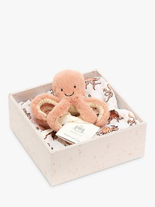 Jellycat Odell Octopus Soft Toy and Muslin Gift Set