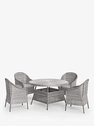 John Lewis & Partners Hoxton 4-Seat Round Garden Dining Table & Chairs Set, Grey