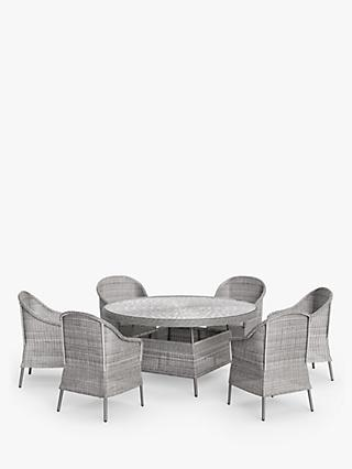 John Lewis & Partners Hoxton 6-Seat Round Garden Dining Table & Chairs Set, Grey