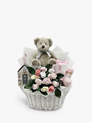 Babyblooms Bertie Bear's New Baby Gift Basket, Light Pink