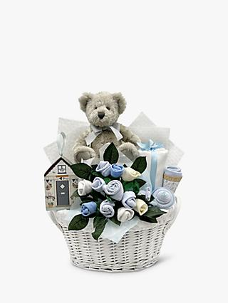 Babyblooms Bertie Bear's New Baby Gift Basket, Light Blue