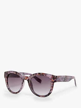 John Lewis & Partners Women's Preppy Round Sunglasses, Multi/Purple Gradient
