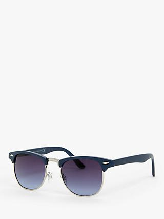John Lewis & Partners Unisex Browline Sunglasses, Navy/Purple Gradient
