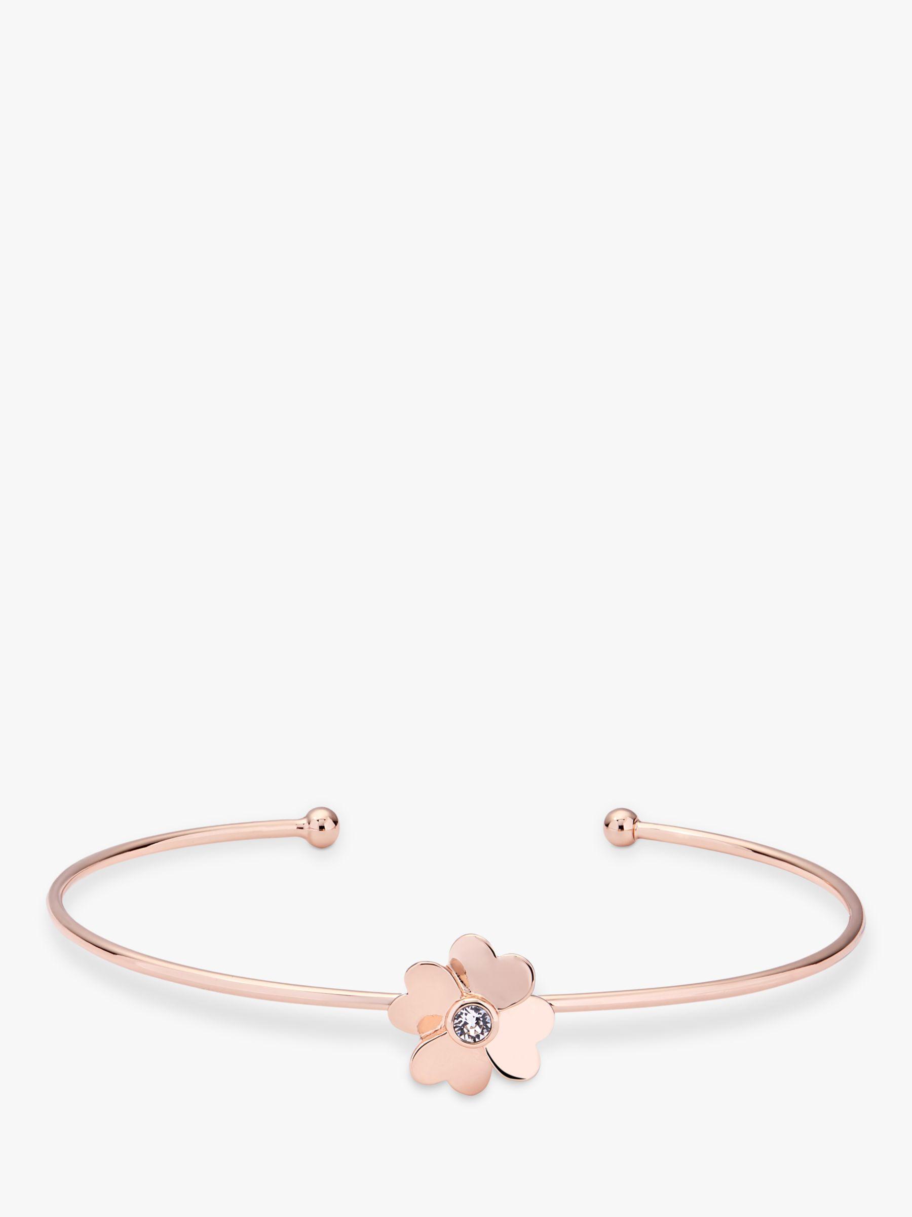 limited guantity fantastic savings fashion styles Ted Baker Swarovski Crystal Heart Flower Bangle, Rose Gold at John ...