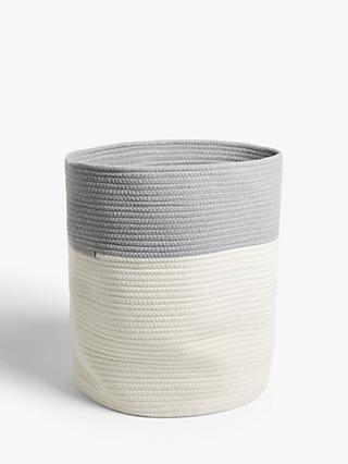 John Lewis & Partners Cotton Rope Storage Bucket, White / Grey