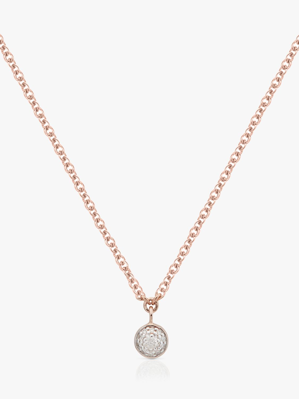 Monica Vinader Fiji Tiny Button Single Drop Diamond Necklace Rose Gold At John Lewis Partners