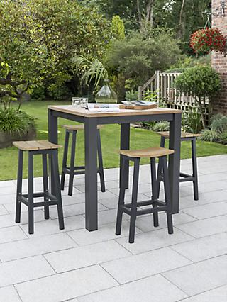 KETTLER Elba 4-Seater High Dining Garden Table & Stools Set, FSC-Certified (Teak Wood), Grey/Natural