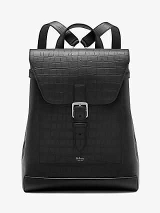 Mulberry Chiltern Croc Embossed Leather Backpack, Black