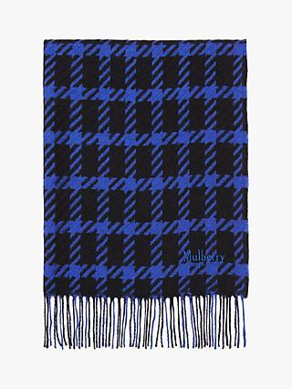 Mulberry Large Houndstooth Check Lambswool Shawl