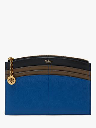 Mulberry Classic Grain Leather Curved Traveller Wallet, Porcelain Blue