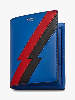 Mulberry Flash Stripe Leather Passport Cover, Porcelain Blue/Scarlet
