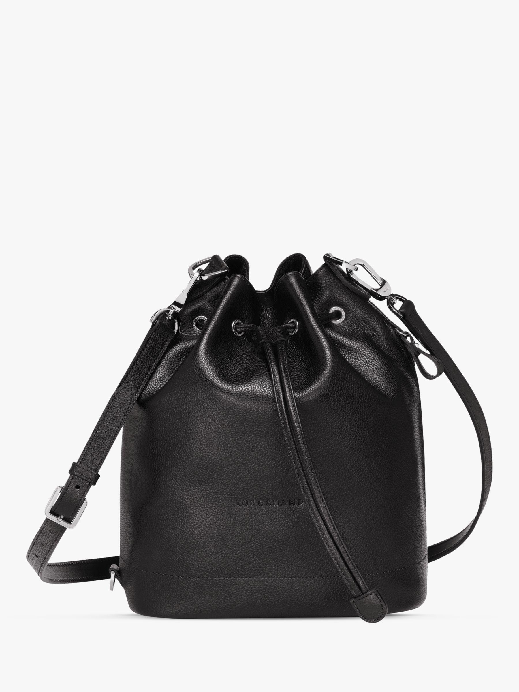Longchamp Le Foulonné Medium Leather Bucket Bag, Black