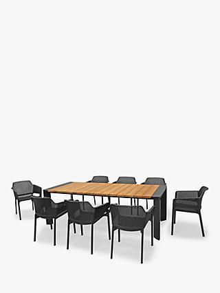 KETTLER Bailey 8-Seater Garden Dining Table & Chairs Set, FSC-Certified (Teak Wood), Natural/Black