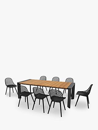 KETTLER Cosmo 8-Seater Garden Dining Table & Chairs Set, FSC-Certified (Teak Wood), Natural/Black