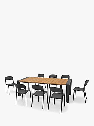 KETTLER Riley 8-Seater Garden Dining Table & Chairs Set, FSC-Certified (Teak Wood), Natural/Black