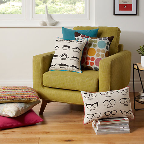 Buy John Lewis Moustache Cushion, Natural Online at johnlewis.com