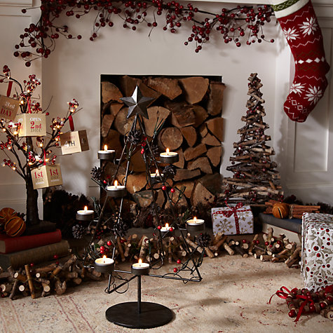 Buy John Lewis Standing Red Berry & Twig Christmas Tree (No Holly) Online at johnlewis.com