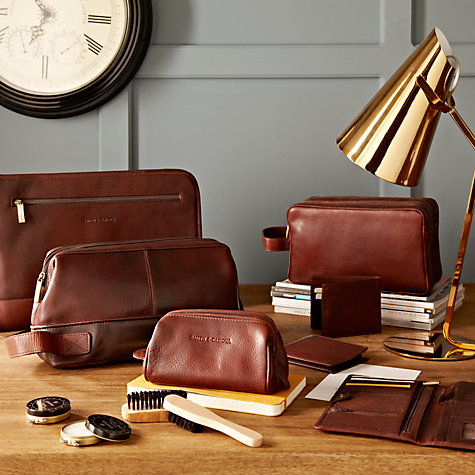 Buy Smith & Canova Double Zip Wash Bag, Brown Online at johnlewis.com