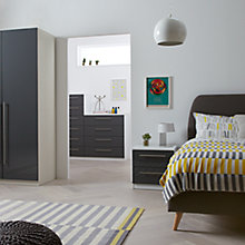 Buy House by John Lewis Mix it Block Handle Bedroom Range, Gloss Steel/White Online at johnlewis.com