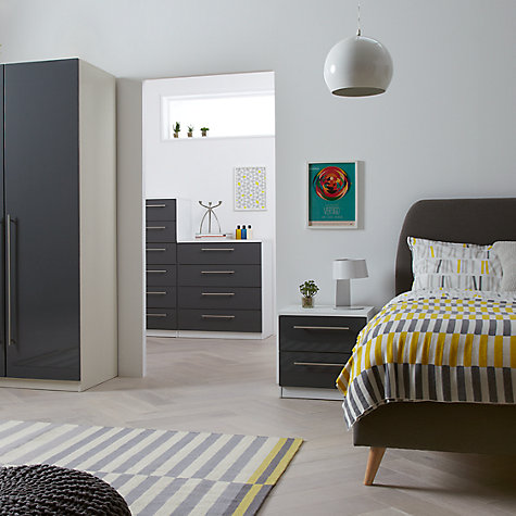 Buy House by John Lewis Mix it Block Handle Double Wardrobe, Gloss House Steel/White Online at johnlewis.com