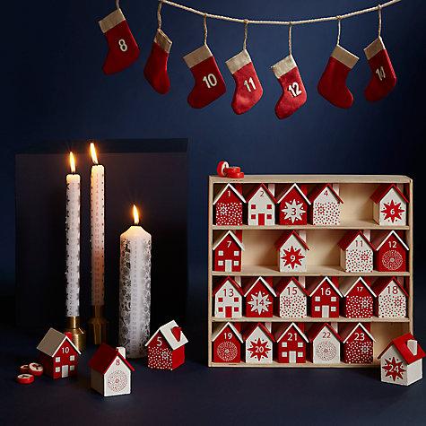 Buy John Lewis Wooden Houses Advent Calendar Red White