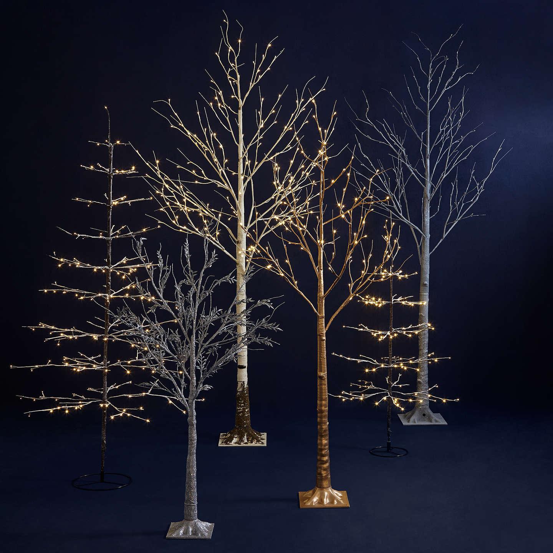 John Lewis 4ft Pre-Lit Snowy Twig Christmas Tree, White at John Lewis