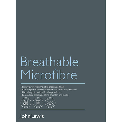 Buy John Lewis New Breathable Microfibre Duvet, 13.5 Tog (9 + 4.5 Tog) All Seasons Online at johnlewis.com
