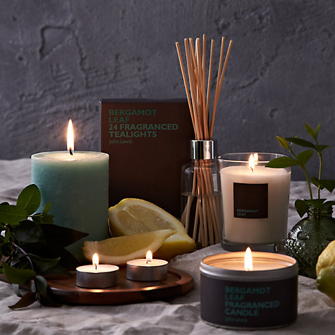 Buy John Lewis Bergamot Leaf Pillar Scented Candle, Small Online at johnlewis.com