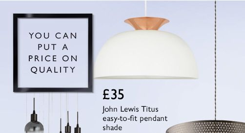 John Lewis Titus easy-to-fit pendant shade