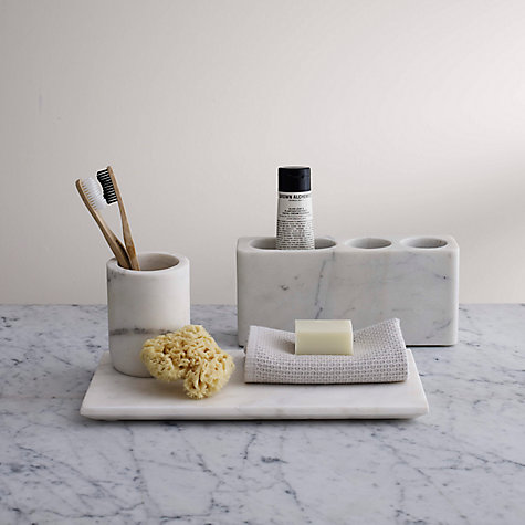 Buy john lewis white marble bathroom accessories tray for Bathroom fittings ideas