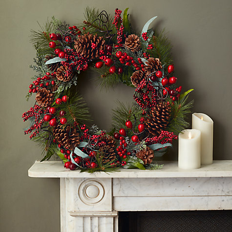 Buy John Lewis Ruskin House Premium Cedar And Berry Wreath Online at johnlewis.com