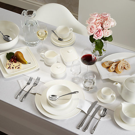 Buy Queensberry Hunt for John Lewis White Bone China Square Plates Online at johnlewis.com
