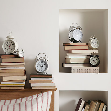 Buy London Clock Matt Seaside Twin Bell, White Online at johnlewis.com