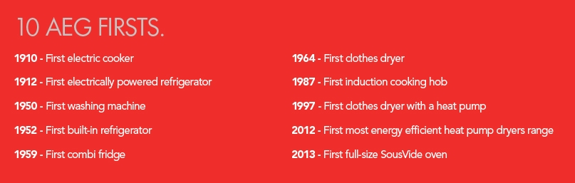 10 AEG FIRSTS. 1910 - First electric cooker, 1912 - First electrically powered refrigerator, 1950 - First washing machine, 1952 - First built-in refrigerator, 1959 - First combi fridge, 1964 - First clothes dryer, 1987 - First induction cooking hob, 1997 - First clothes dryer with a heat pump, 2012 - First most energy efficient heat pump dryers range, 2013 - First full-size SousVide oven
