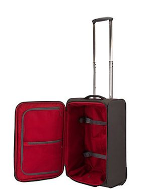 John Lewis Cabin Air 2-Wheel Cabin Suitcase, Graphite/Red