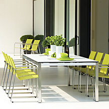Gloster Asta Outdoor Dining Chairs and Ottomans