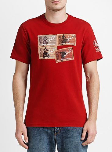 Barbour International Steve McQueen™ Collection Stamp Short Sleeve T-Shirt, Crimson