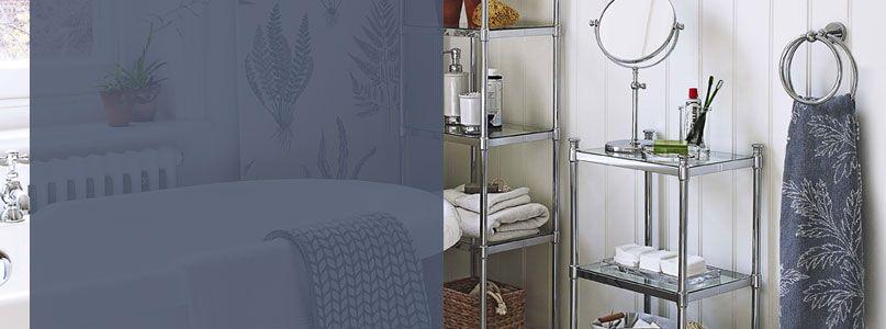 Bathroom accessories towels racks bath mat sets for Bathroom storage ideas john lewis