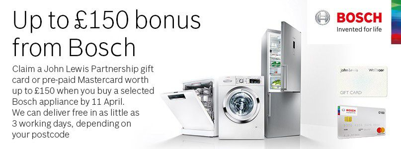 Up to £150 bonus from Bosch