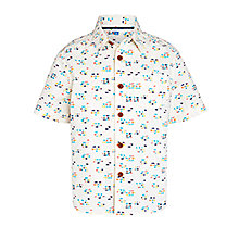John Lewis Boy Short Sleeve Mini Square Shirt, Cream/Multi, £14.00 - £16.00