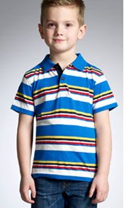 Young boy wearing John Lewis stripy T-Shirt