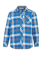 John Lewis Boy Check Twill Shirt, Blue/Grey<br>£15.00 - £17.00