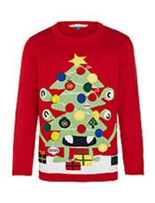 John Lewis Boy Monster Christmas Tree Jumper, Red,<br>£20.00 - £22.00
