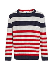 John Lewis Boys%27 Nautical Stripe Jumper, Navy/Red<br>£18.00 - £20.00