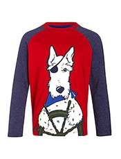 John Lewis Sailor Dog Applique T-Shirt, Blue/Burgundy<br>£11 - £13