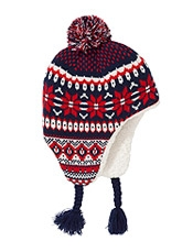 John Lewis Festive FairIsle Trapper Hat, Navy,<br>£10.00 - £11.00